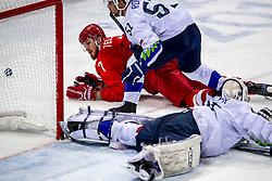 16-02-2018 KOR: Olympic Games day 7, PyeongChang<br /> Ice Hockey Russia (OAR) - Slovenia / forward Ivan Telegin #7 of Olympic Athlete from Russia, defenseman Mitja Robar #51 of Slovenia, goaltender Gasper Kroselj #32 of Slovenia