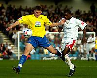 Photo: Ed Godden.<br /> Milton Keynes Dons v Hereford United. Coca Cola Championship. 21/10/2006. MK Dons' Izale McLeod (R), chases Alex Jeannin for the ball.