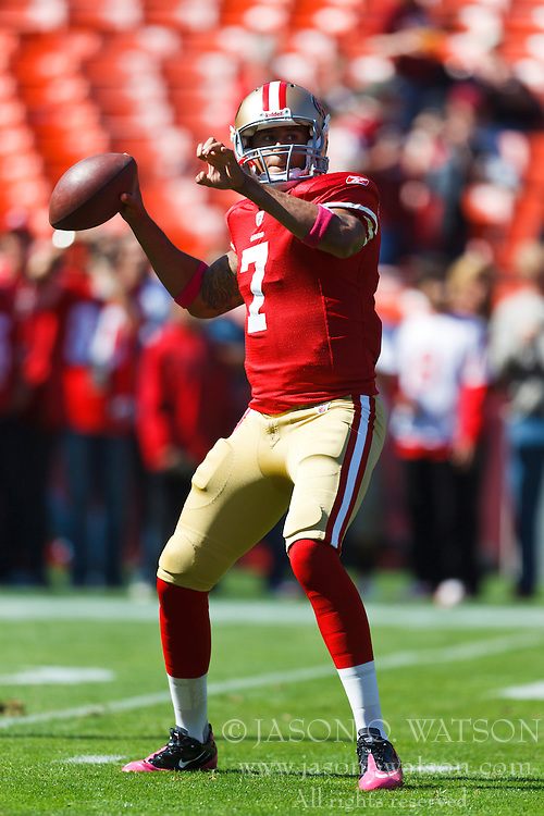 Oct 9, 2011; San Francisco, CA, USA; San Francisco 49ers quarterback Colin Kaepernick (7) warms up before the game against the Tampa Bay Buccaneers at Candlestick Park. San Francisco defeated Tampa Bay 48-3. Mandatory Credit: Jason O. Watson-US PRESSWIRE