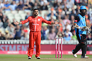 Zahir Kahn of Lancashire Lightning celebrates the wicket of Moeen Ali during the Vitality T20 Finals Day Semi Final 2018 match between Worcestershire Rapids and Lancashire Lightning at Edgbaston, Birmingham, United Kingdom on 15 September 2018.