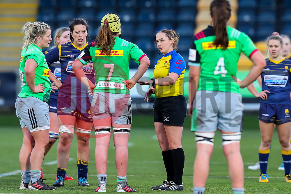 Referee Nikki O'Donnell lectures Emily Robinson of Harlequins Women, as Rachael Burford of Harlequins Women and Sioned Harries of Worcester Warriors Women listen in - Mandatory by-line: Nick Browning/JMP - 20/12/2020 - RUGBY - Sixways Stadium - Worcester, England - Worcester Warriors Women v Harlequins Women - Allianz Premier 15s