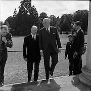 02/08/1962<br /> 08/02/1962<br /> 02 August 1962<br /> Ambassador Oil Co. representatives at Aras an Uachtarain.<br /> Picture shows Mr F. Kirk Johnston, (right) Chairman of Ambassador Oil Corporation and President of Ambassador Irish Oil Co. with President Eamon de Valera.