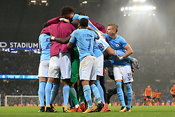 24th October 2017 - Carabao Cup (4th Round) - Manchester City v Wolverhampton Wanderers - Man City players, including Oleksandr Zinchenko (R), celebrate victory - Photo: Simon Stacpoole / Offside.
