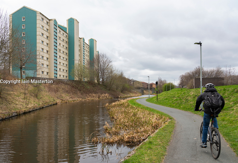 High rise apartment block beside the Union Canal in Wester Hailes, Edinburgh, Scotland, UK