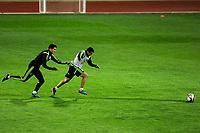 Spanish National Team's  training at Ciudad del Futbol stadium in Las Rozas, Madrid, Spain. In the pic: Bartra and Pedro. March 25, 2015. (ALTERPHOTOS/Luis Fernandez)