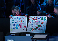 Tennis - 2019 Nitto ATP Finals at The O2 - Day One<br /> <br /> Singles Group Bjorn Borg: Novak Djokovic vs. Matteo Berrettini<br /> <br /> Young Fans at the game try to get Novak Djokovic (Serbia) attention at the o2 Arena<br /> <br /> COLORSPORT/DANIEL BEARHAM