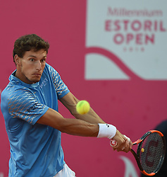LISBON, May 4, 2018  Spain's Pablo Carreno Busta returns the ball during second round match of Estoril Open Tennis tournament against Argentina's Nicolas Kicker in Cascais, near Lisbon, Portugal, May 3, 2018. (Credit Image: © Zhang Liyun/Xinhua via ZUMA Wire)