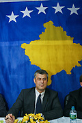 Kosovo's Prime Minister Hashim Thaçi is seen in an event in regards to regional and local politics in Kosovo's eastern city of Gjilan on November 7, 2008. (Photo/Vudi Xhymshiti)