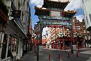 Chinatown is eerily quiet and silent on empty streets as lockdown continues and people observe the stay at home message in the capital on 12th May 2020 in London, England, United Kingdom. Coronavirus or Covid-19 is a new respiratory illness that has not previously been seen in humans. While much or Europe has been placed into lockdown, the UK government has now announced a slight relaxation of the stringent rules as part of their long term strategy, and in particular social distancing.