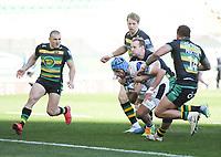 Rugby Union - 2020 / 2021 Gallagher Premiership - Round 11 - Northampton Saints vs Bath - Franklin Gardens<br /> <br /> Bath Rugby's Zach Mercer scores his sides second try.<br /> <br /> COLORSPORT/ASHLEY WESTERN