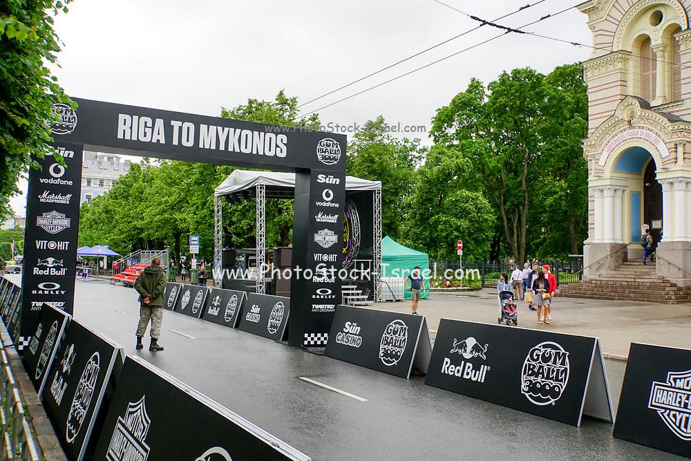 The start of the Riga to Mykonos Gumball 3000 Rally, Riga, Latvia