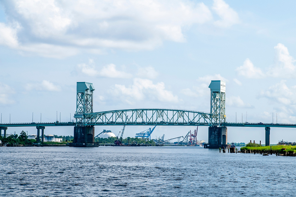 View of the Cape Fear Memorial Bridge during the Wilmington Water Tours in Wilmington, North Carolina on Monday, August 9, 2021. Copyright 2021 Jason Barnette