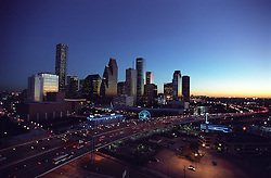Aerial view of Houston, Texas skyline in early evening.