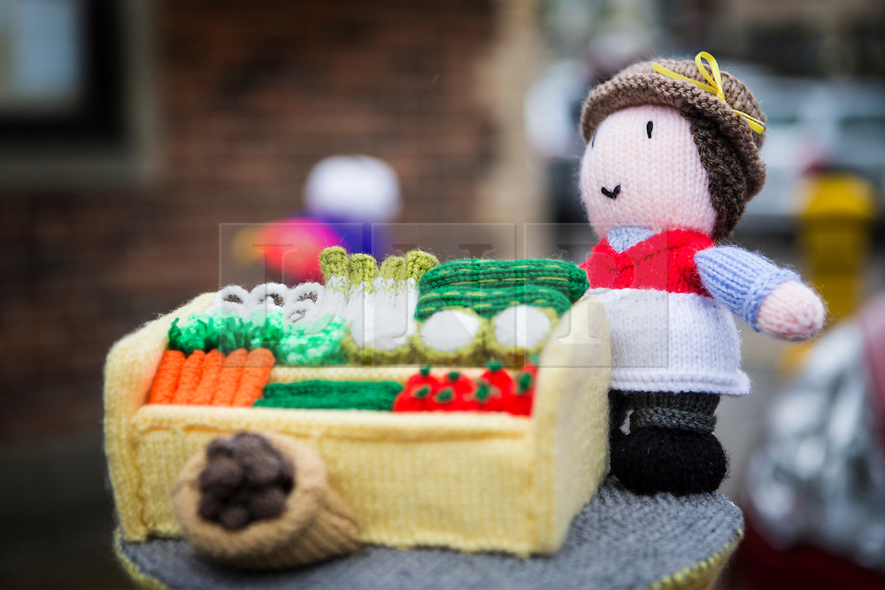© Licensed to London News Pictures. 27/04/2016. Thirsk UK. Picture shows a knitted fruit & veg seller in thirsk that has been Yarn Bombed. Under the cover of Darkness 300 Yarn bombing street artist's have covered the Town centre of Thirsk, the group has covered bollards, flower pots, the bus stop, tree's, benches, even the local police station. The knitted creations took over 750 balls of wool & have been placed along the route of the Tour De Yorkshire which will pass through the town during it's final stage from Middlesborough to Scarborough on Sunday.  Photo credit: Andrew McCaren/LNP