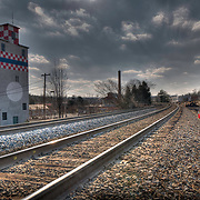 Railroad tracks and what was locally referred to  as the Purina Tower in Fredericksburg, VA.
