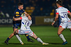 Will Butler of Worcester Warriors is tackled by Luke James of Sale Sharks - Mandatory by-line: Craig Thomas/JMP - 03/11/2017 - RUGBY - Sixways Stadium - Worcester, England - Worcester Warriors v Sale Sharks - Anglo Welsh Cup
