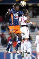 FOOTBALL - FRENCH LEAGUE CUP 2010/2011 - 1/4 FINAL - MONTPELLIER HSC v LILLE OSC - 10/11/2010 - PHOTO SYLVAIN THOMAS / DPPI - MAPOU YANGAMBIAWA (MON) / FRANCK BERIA (LOSC)