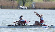 Brandenburg. GERMANY. Lightweight Women's Double Scull. NED LW2X. Bow Lise PAULIS and Maaika HEAD. <br /> 2016 European Rowing Championships at the Regattastrecke Beetzsee<br /> <br /> Sunday  08/05/2016<br /> <br /> [Mandatory Credit; Peter SPURRIER/Intersport-images]