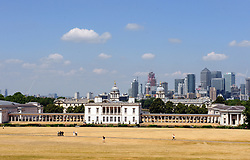 © Licensed to London News Pictures. 13/07/2018<br /> Greenwich, UK.<br /> Hot heat wave weather continues today as the grass in Greenwich Park starts to look like desert sand its so dry.<br /> Photo credit: Grant Falvey/LNP