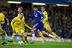 LONDON, ENGLAND - Wednesday, December 10, 2014: Chelsea's Diego Costa in action against Sporting Clube de Portugal during the final UEFA Champions League Group G match at Stamford Bridge. (Pic by David Rawcliffe/Propaganda)