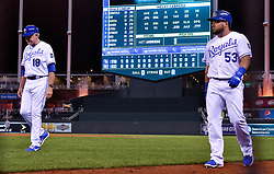 August 28, 2017 - Kansas City, MO, USA - Kansas City Royals first base coach Rusty Kuntz and Melky Cabrera walk off the field after Cabrera grounded out to end the game on Aug. 28, 2017 at Kauffman Stadium in Kansas City, Mo. The Rays won in a 12-0 shutout. (Credit Image: © John Sleezer/TNS via ZUMA Wire)