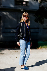 Street style, blogger Marie Into Your Closet arriving at Leonard Spring Summer 2017 show held at Grand Palais, in Paris, France, on October 3, 2016. Photo by Marie-Paola Bertrand-Hillion/ABACAPRESS.COM