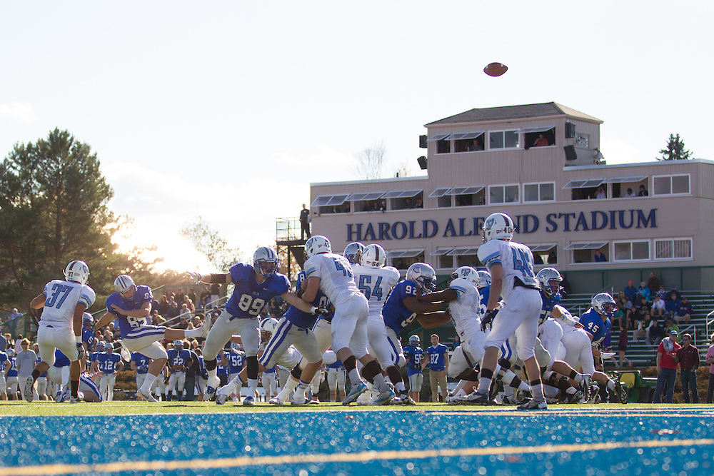 Louw Scheepers, of Colby College, attempts a PAT during a NCAA Division III football game on November 2, 2013 in Waterville, ME. (Dustin Satloff/Colby College Athletics)