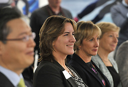 (left to right) South Korean Ambassador to the UK Joonkook Hwang, UK Sport chair Dame Katherine Grainger, UK Sport director of performance, Chelsea Warr and UK Sport chief executive Liz Nicholl, during the press conference to announce the UK Sport medal target for the Winter Olympics and Paralympics at the Korean Cultural Centre UK in London.