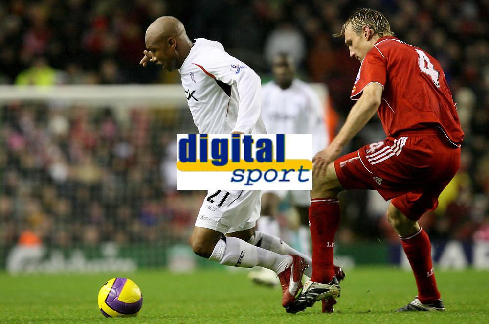 Photo: Paul Greenwood/Sportsbeat Images.<br />Liverpool v Bolton Wanderers. The FA Barclays Premiership. 02/12/2007.<br />Bolton's El Hadji Diouf, (L) is tripped by Liverpool's Sami Hypia