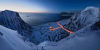 Winter view at twilight over Haukland beach from Mannen, Vestvågøy, Lofoten Islands, Norway