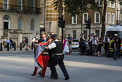 London, UK. 24 July, 2019. Police officers in Whitehall push out of the road a protester against Boris Johnson's appointment as Prime Minister following his election as leader of the Conservative Party by its members. Credit: Mark Kerrison/Alamy Live News