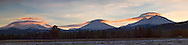 Sunset over North, Middle and South Sister peaks.
