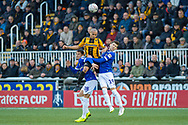 Maidstone United forward Elliott Romain (9), Oldham Athletic midfielder Mohamed Maouche (28) and Oldham Athletic forward Callum Lang (19) during the The FA Cup match between Maidstone United and Oldham Athletic at the Gallagher Stadium, Maidstone, United Kingdom on 1 December 2018. Photo by Martin Cole