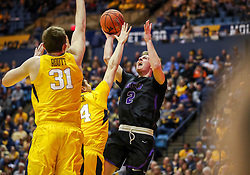 Mar 20, 2019; Morgantown, WV, USA; Grand Canyon Antelopes guard Trey Drechsel (2) shoots during the second half against the West Virginia Mountaineers at WVU Coliseum. Mandatory Credit: Ben Queen