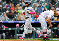 May 13, 2018 - Denver, CO, U.S. - DENVER, CO - MAY 13: Milwaukee Brewers outfielder Domingo Santana (16) scores a run during a regular season MLB game between the Colorado Rockies and the visiting Milwaukee Brewers on May 13, 2018 at Coors Field in Denver, CO. (Photo by Russell Lansford/Icon Sportswire) (Credit Image: © Russell Lansford/Icon SMI via ZUMA Press)