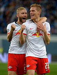 November 5, 2019, St. Petersburg, Russia: Russia. St. Petersburg. November 5, 2019. FC Leipzig players Conrad Laimer, Marcel Halstenberg (left to right) in the UEFA Champions League group stage match between the teams Zenit (St. Petersburg, Russia) and RB Leipzig  (Credit Image: © Andrey Pronin/ZUMA Wire)