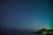 Stars above The Lybian Sea at Plakias bay located at the island of Crete in Greece.
