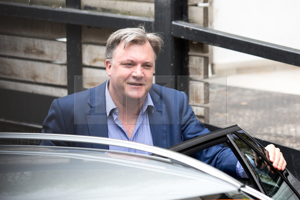 © Licensed to London News Pictures. 10/07/2016. London, UK. Former Economic Secretary to the Treasury ED BALLS arriving at ITV Studios to speak on the Peston on Sunday show today (10 July 2016). Angela Eagle is expected to announce her bid for the leadership of the Labour party tomorrow. Photo credit : Tom Nicholson/LNP