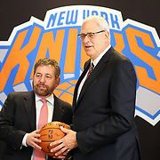 Phil Jackson facing the media with New York Knicks owner James Dolan during the New York Knicks Press Conference announcing Phil Jackson as the new president of the New York Knicks at Madison Square Garden, New York, USA. 18th March 2014. Photo Tim Clayton