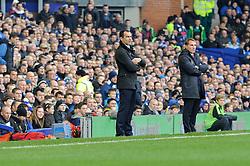 Everton Manager, Roberto Martinez and Liverpool Manager, Brendan Rodgers - Photo mandatory by-line: Dougie Allward/JMP - Tel: Mobile: 07966 386802 23/11/2013 - SPORT - Football - Liverpool - Merseyside derby - Goodison Park - Everton v Liverpool - Barclays Premier League
