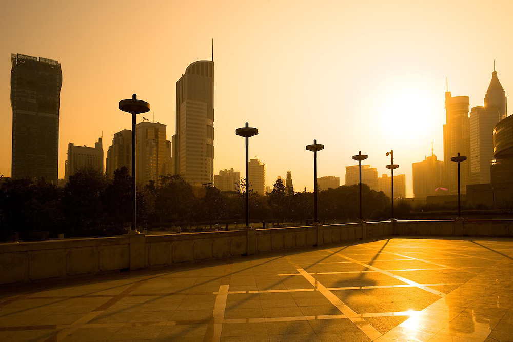 Skyline of office buildings from Renmin Park (People's Square), Huangpu district, Shanghai, China, Asia