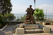 Bronze statue of St. Peter, Capernaum, Sea of Galilee, Israel