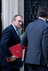 © Licensed to London News Pictures. 05/09/2012. LONDON, UK. Ed Davey, Energy and Climate Secretary (L), is seen leaving Number 10 Downing Street in London today (05/09/12) after attending the first cabinet meeting after a cabinet reshuffle that took place yesterday (04/09/12).  Photo credit: Matt Cetti-Roberts/LNP