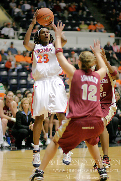 Takisha Granberry (23) shoots over a Florida State defender.  Granberry had 5 points as UVA fell to the Seminoles 67-58.