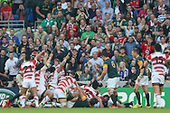 Japan's Centre Harumichi Tatekawa goes over  during the Rugby World Cup Pool B match between South Africa and Japan at the Community Stadium, Brighton and Hove, England on 19 September 2015. Photo by Phil Duncan.
