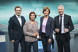 September 1, 2017 - Berlin, Germany - (L-R) TV Moderators Claus Strunz (SAT.1), Sandra Maischberger (ARD), Maybrit Illner (ZDF) and Peter Kloeppel (RTL) pose for a picture during a press preview of the TV-Debate between Chancellor Angela Merkel and SPD Chancellor Candidate Martin Schulz in Adlershof in Berlin, Germany on September 1, 2017. (Credit Image: © Emmanuele Contini/NurPhoto via ZUMA Press)