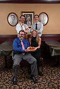 """Clockwise from top left: Matt, Thom, Cathy and Frank Cunetto. Photos at Cunetto's House of Pasta """"On The Hill"""" in south St. Louis taken on Wednesday April 21, 2021 for the Better Business Bureau (St. Louis) Torchlight quarterly magazine. <br />Photo byTim Vizer"""