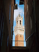 The Torre del Mangia tower of the Palazzo Pubblico, on Piazza del Campo, rising above the streets of Siena, Tuscany, Italy