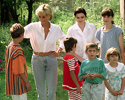 Diana, Princess of Wales on the second day of her visit to war-ravaged Bosnia today (Saturday) meets the Soljankic family who have been the victims of landmine injuries.