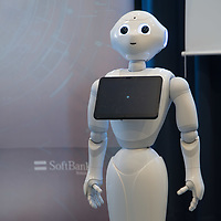 A Pepper customer service robot takes part in a press conference introducing the development plans of Hungary's Netlife Robotics company in Budapest, Hungary on Sept. 6, 2018. ATTILA VOLGYI